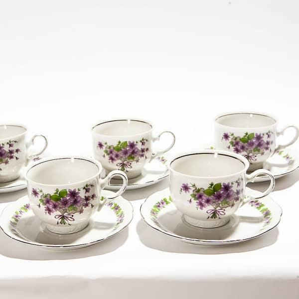 Набор из 6-ти чайных пар «Фиалки»