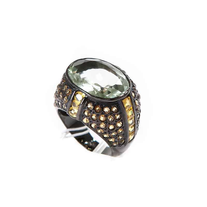 Серебряное кольцо с аметистом с чернением