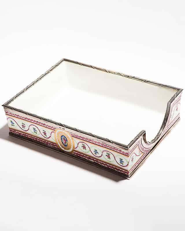 Фарфоровый короб для писем и бумаг с серебряным ободком