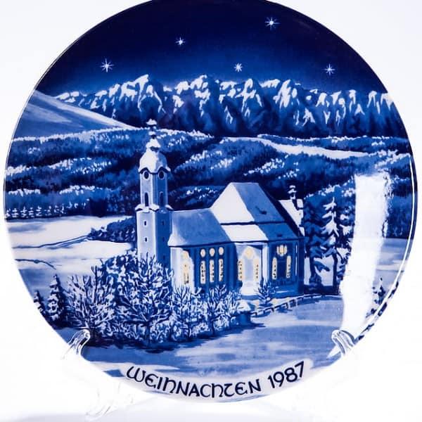 Фарфоровая тарелка «Рождество 1987 год»
