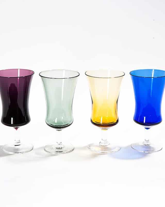 Набор из 4-х цветных, стеклянных бокалов