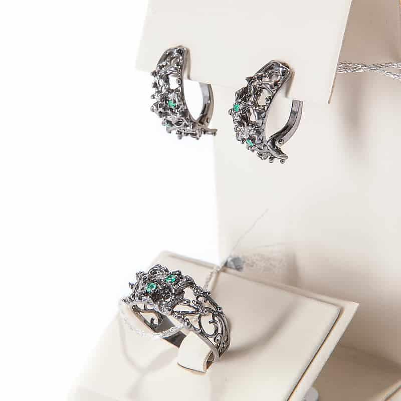 Серебряный набор: серьги с кольцом