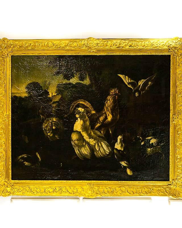 Антикварная картина «Наптичьем дворе»