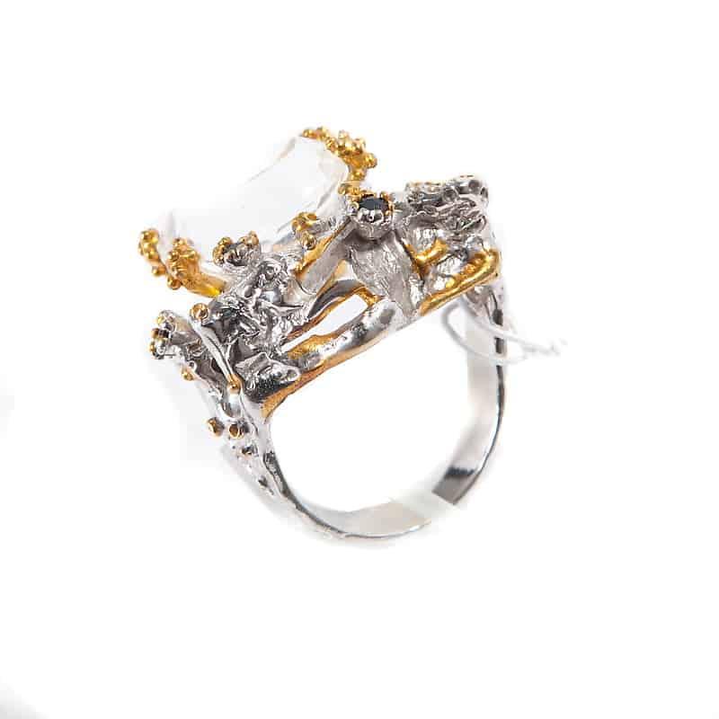 Кольцо с горным хрусталём