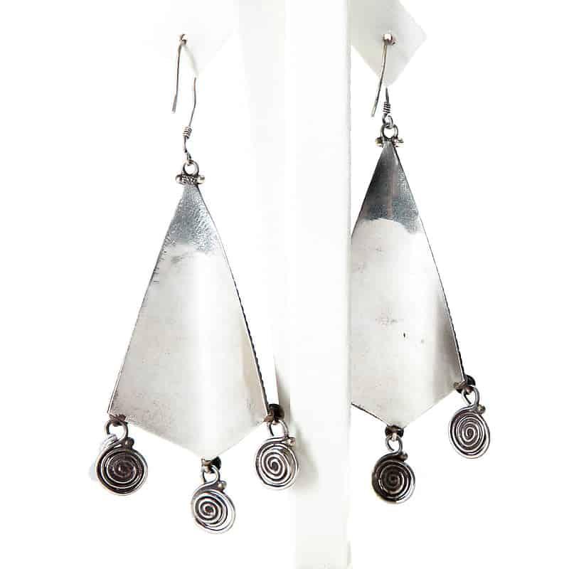 Серебряные серьги с бирюзой, кораллом, лазуритом и янтарем