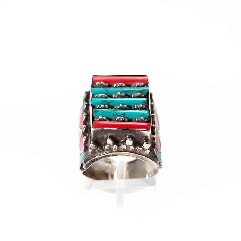 Мужское серебряное кольцо с бирюзой и кораллом