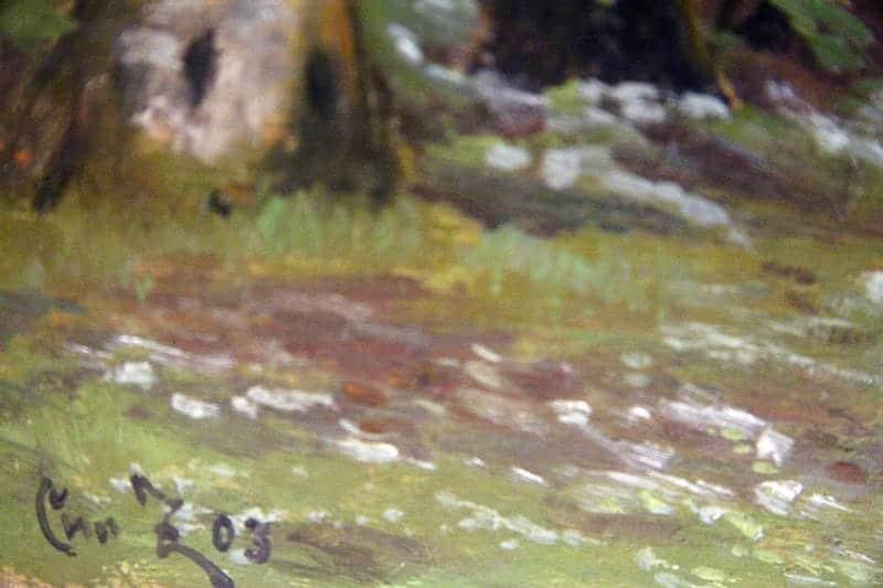 Картина «По лесной дороге среди молодых деревьев»