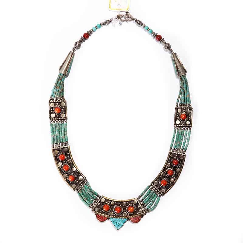 Серебряное ожерелье с лазуритом, бирюзой и кораллом
