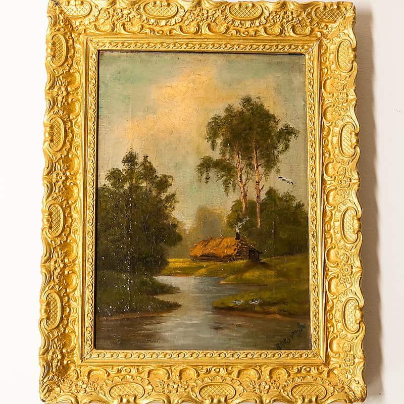Картина «Пейзаж сизбушкой»