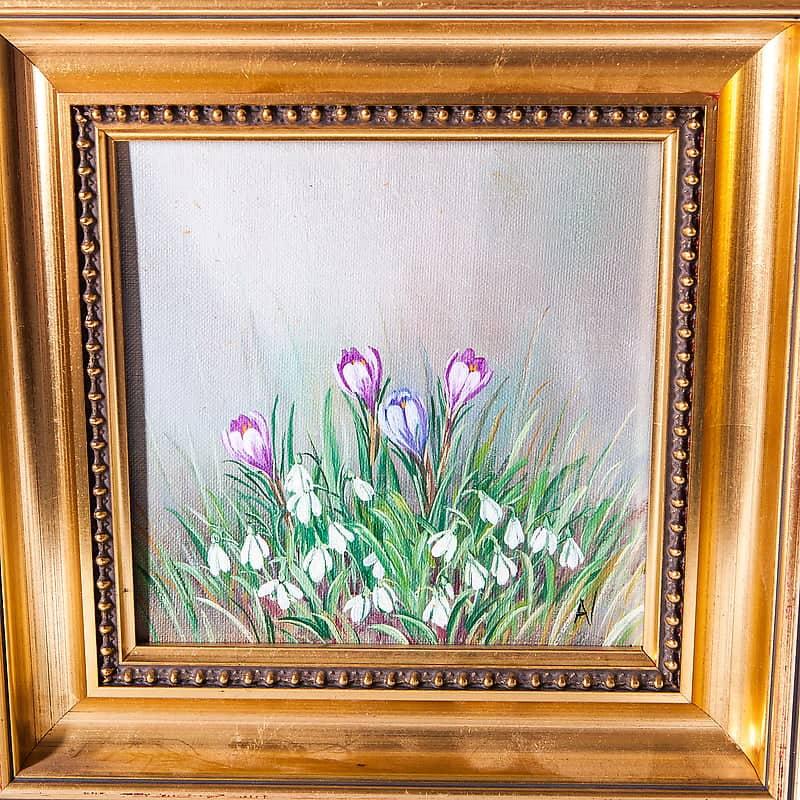 Картина маслом «Первоцветы»