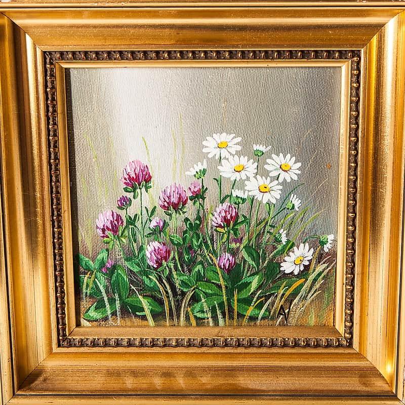 Картина маслом «Клевер и ромашки»