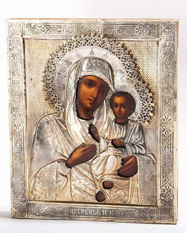 Антикварная икона в серебряном окладе «Иверская Богоматерь»