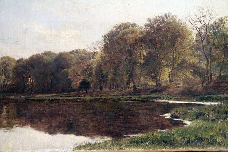 Картина «Пейзаж с лесным озером»
