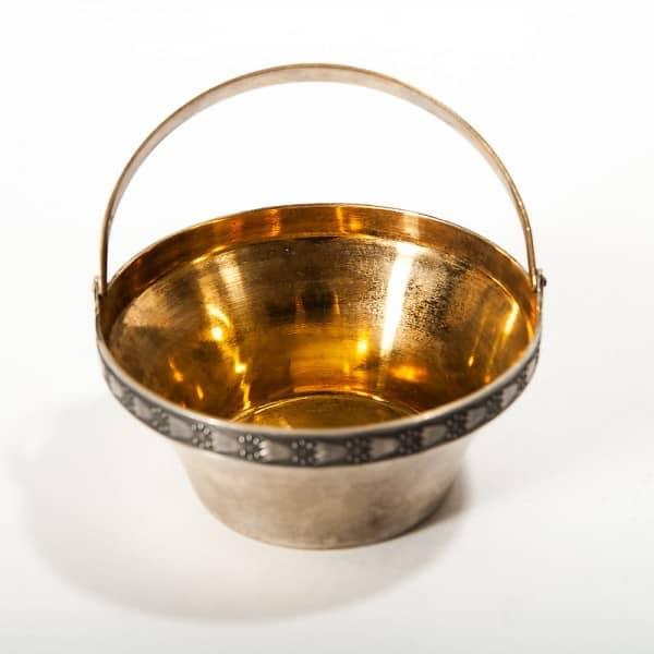 Серебряная сахарница с внутренней позолотой