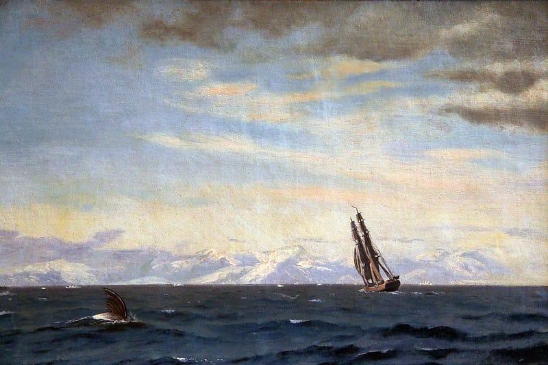 Картина «Горбатые киты и корабль в проливе Дейвиса»