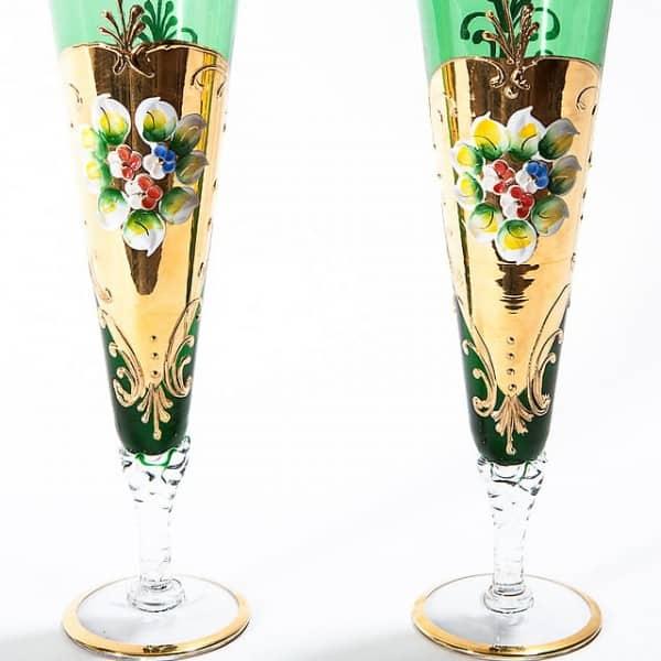 Бокалы под шампанское из цветного стекла
