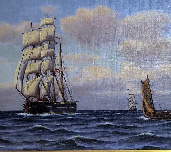Картина «Морской пейзаж с парусниками»