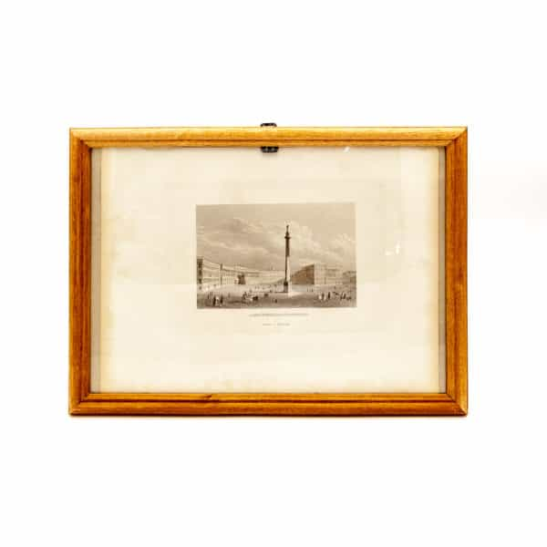 starinnaya litografiya aleksandrijskij stolp v sankt-peterburge