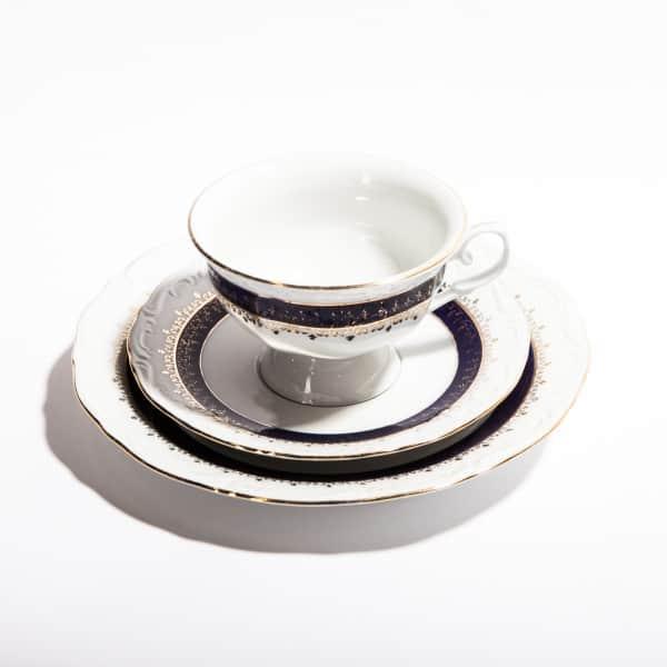 Чайная тройка с синей полоской