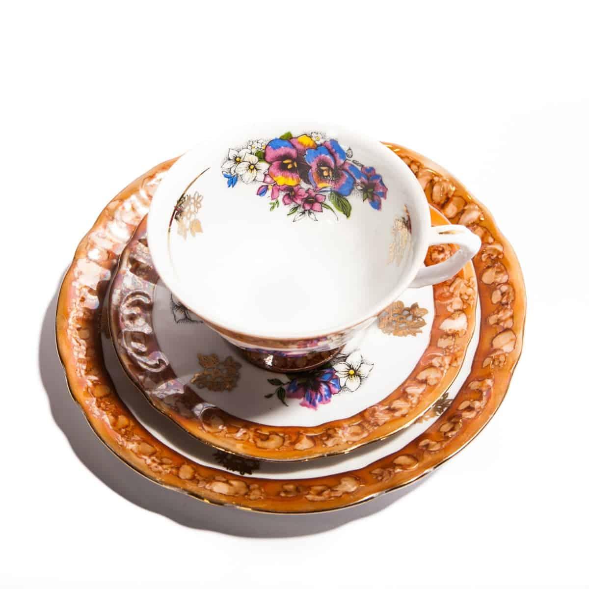 Чайная тройка из фарфора с оранжевой каемкой
