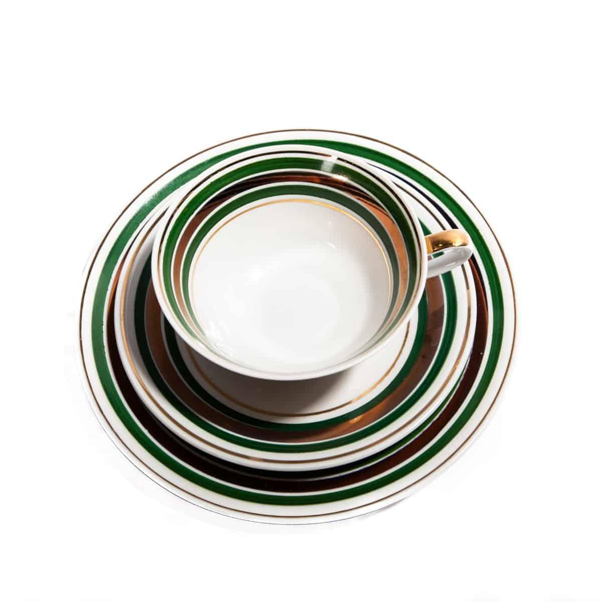 Чайная тройка с зелеными и золотыми полосками