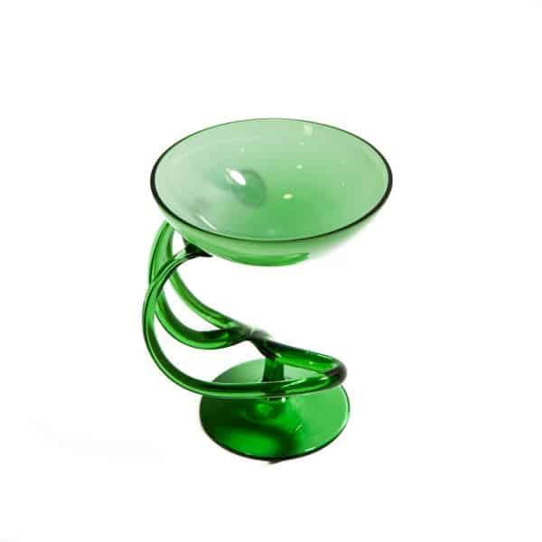 Зеленая ваза хрустальная