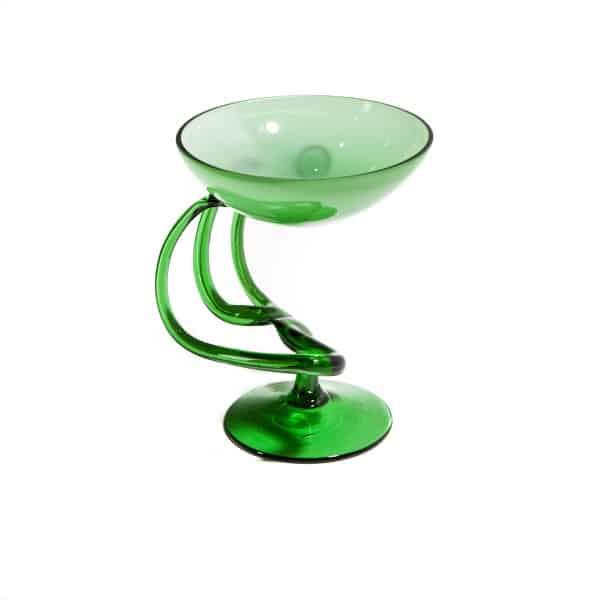 Зеленая хрустальная ваза