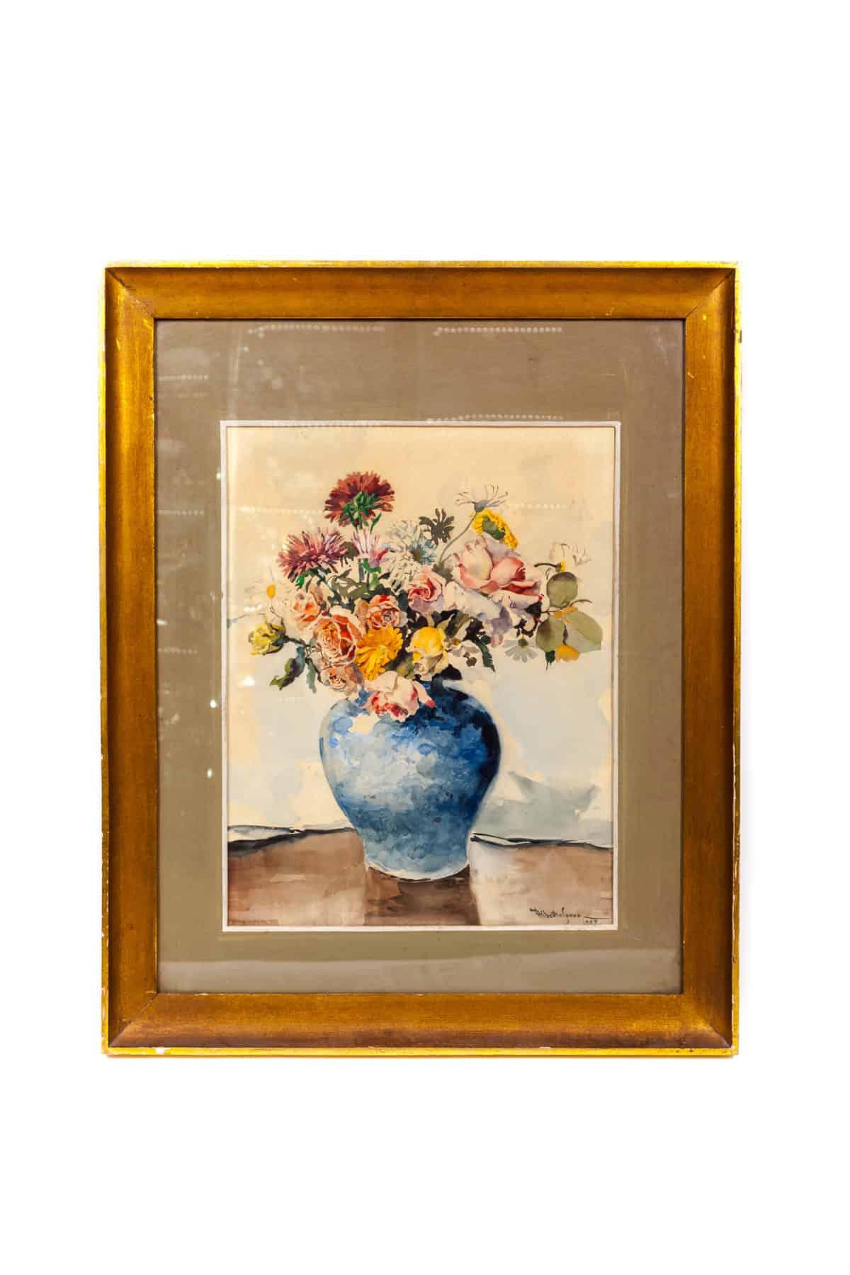 starinnaya akvarel tsvety v vaze