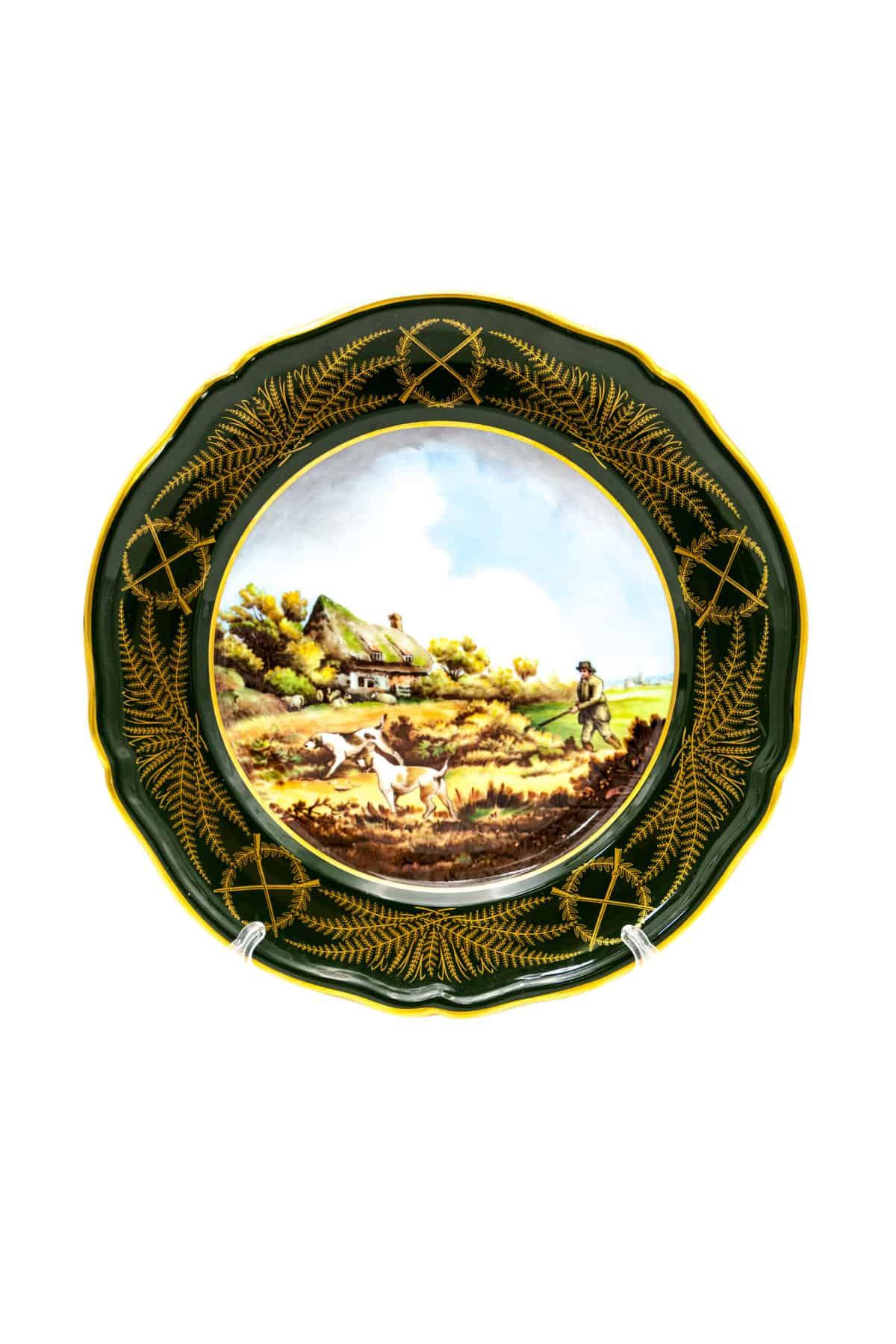 farforovaya tarelka ohotnik s sobakami