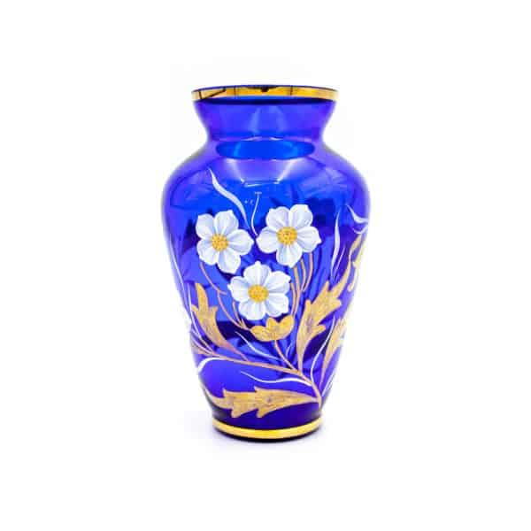 steklyannaya kobaltovaya vaza s rospisyu