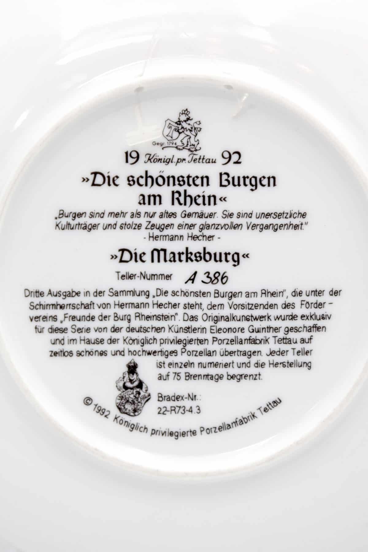 farforovaya tarelka zamok marksburg